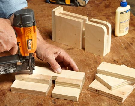 <b>Photo 3: Assemble the feet</b></br> For strength, use glue plus nails or screws. After assembly, round over the outer corners with a belt sander or jigsaw.