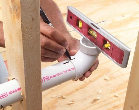 <b>Pipe joint alignment</b></br> Mark your pipe joints so you can position them quickly when gluing.