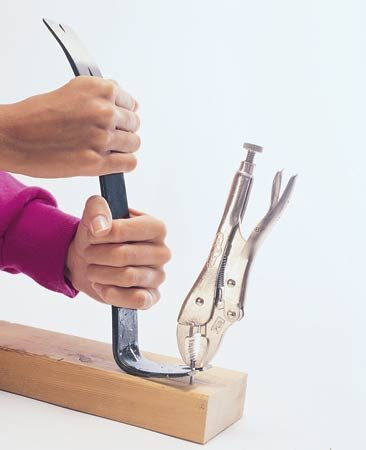 <b>Pull a headless nail</b></br> Lock the pliers tightly on the nail shank and pry it out with a pry bar.