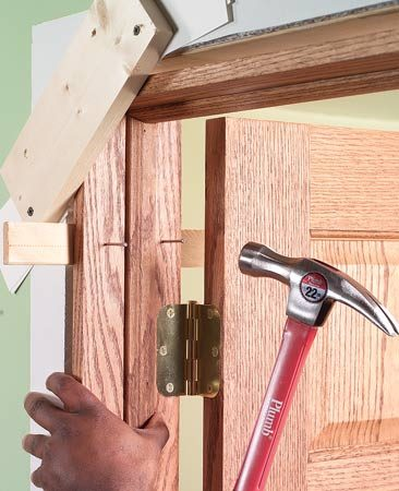 <b>Cleat door stop</b></br> Use cleats to accurately hold the jamb in place while installing it.