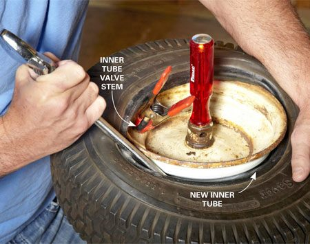 <b>Photo 3: Pry the tire back onto the wheel</b></br> Once the inner tube is in place, hold the valve stem with a spring clamp. Then slide the round handle ends of two large adjustable wrenches (a screwdriver will puncture the tube) under the bead and pry it up and then back onto the wheel.
