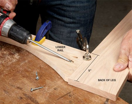 <b>Photo 4: Assemble the face frame</b></br> <p>Be sure to join the rails to the non-tapered sides of the legs. Join the legs to the back panel the same way.</p>