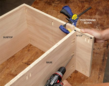 <b>Photo 5: Build the cabinet</b></br> <p>Join the upper and lower shelves to the sides. Clamp a block to the sides to keep the parts from drifting as you drive screws.</p>