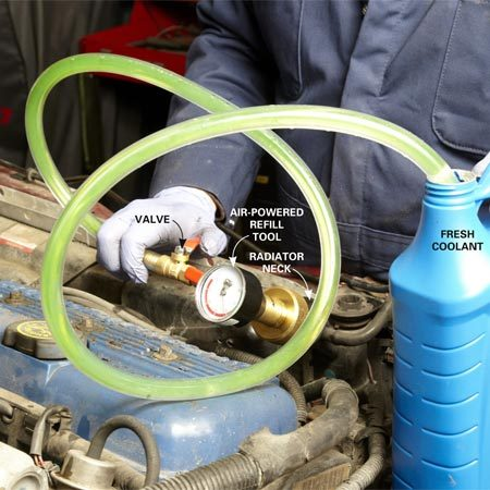 <b>Photo 2: Vacuum-fill the cooling system</b><br/>Jam the fill tube into the coolant bottle. Then open the valve and let the vacuum suck fresh coolant into the system. Repeat the procedure until the system is full.