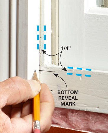 <b>Marking a reveal</b></br> The standard reveal for window and door trim is 1/4-in., but this can be adjusted a little if needed. A combination square works well for marking reveals.
