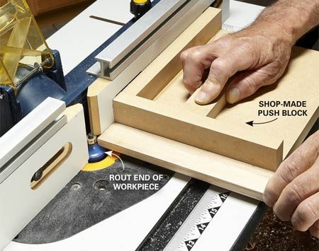 Hold the board square to the fence and prevent tear-out with a shop-made push block.