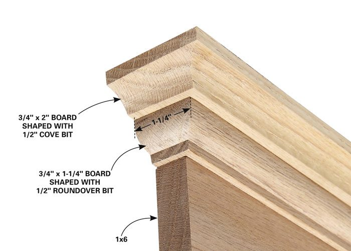 Make solid, one-piece cap molding for door and window trim with a router.