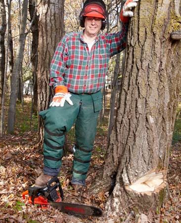 Get the right safety equipment for cutting down a tree.