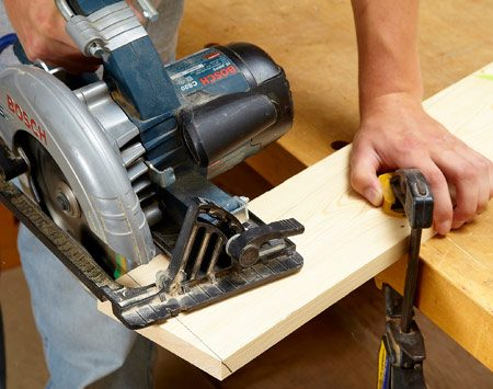 <b>Cut the legs</b></br> Set your circular saw to cut at a 13-degree bevel, and cut the legs to length at a 13-degree angle. Mark each piece as you cut it.
