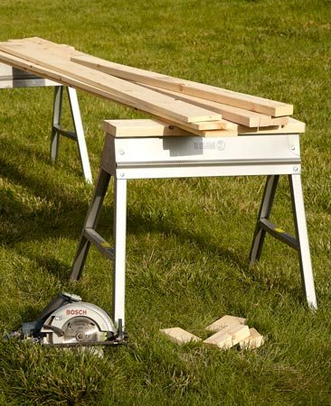 """<b>Travis's favorite</b></br> """"I don't know why anyone would buy or build another kind of sawhorse. These are strong and cheap, and they hardly take up any room when they're folded up. Screw a 2x6 on the top and you're good to go."""""""