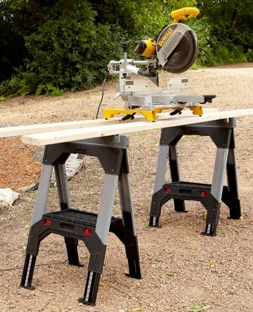 """<b>Steve's favorite sawhorse</b></br> """"Hard to believe any homemade horse could compete with the FatMax. They're light, foldable, height-adjustable and have notches for holding two-by cross braces. I can't imagine not having them."""""""