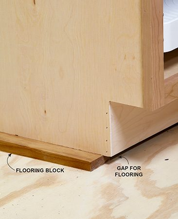 <b>Plan ahead</b><br/>If the kitchen flooring is going to be hardwood or tile, and you're installing it after the cabinets, you'll have to raise the cabinets off the floor or the dishwasher won't fit under the countertop. Use blocks to represent the finished floor height, and add those distances to the guide line for the base cabinet tops. Hold the blocks back a bit from the front so the flooring can tuck underneath. Your flooring guys will love you for this.