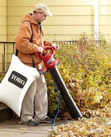 <b>Yard vac</b></br> A leaf blower/vacuum sucks up leaves fast, especially around shrubs, in flower beds and in other hard-to-rake areas. You might think that the bag would need to be emptied every five minutes, but the vac minces the leaves and packs a mountain of them into just a few bags.