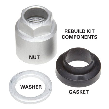 <b>Rebuild kit components</b><br/>Tire pressure sensor gaskets must be replaced when you install new tires.