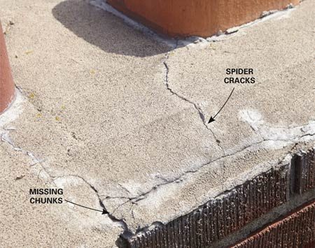 <b>Chimney inspection</b></br> The cracks in this chimney crown have reached a critical point. If not sealed soon, they'll destroy the crown and eventually the chimney.
