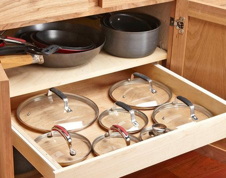 <b>Rollout drawer hides your lids</b></br> <p>You can mount a drawer for pot  lids under your pot shelf—or under any   other cabinet shelf. Before  you remove the shelf, put some pencil marks   on it to indicate the width of  the cabinet opening at its narrowest point   (usually at the hinges). Your  drawer front and slides can't extend beyond   those marks (or you'll spend  hours building a drawer that won't open).   Then remove the shelf. If it's  made from particleboard, I recommend that   you replace it with 3/4-in.  plywood and transfer the marks to the new shelf. If you can build a simple drawer box, the  rest will be easy.</p>
