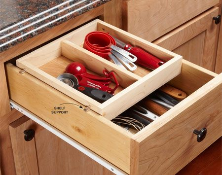 <b>Drawer organization tip</b></br> <p>Deep drawers often contain a  jumbled pile   of interlocking utensils. My  solution is a   sliding tray that creates two  shallower   spaces. Make it 1/8 in.  narrower than the   drawer box, about half the  length and any   depth you want (mine is 1-3/4  in. deep).   When you position the holes  for the   adjustable shelf supports,  don't rely on   measurements and arithmetic.  Instead,   position the tray inside the  drawer box at   least 1/8 in. lower than the  cabinet opening   and make a mark on the tray.  My shelf   supports fit tightly into the  holes, but yours may require a little super glue.</p>