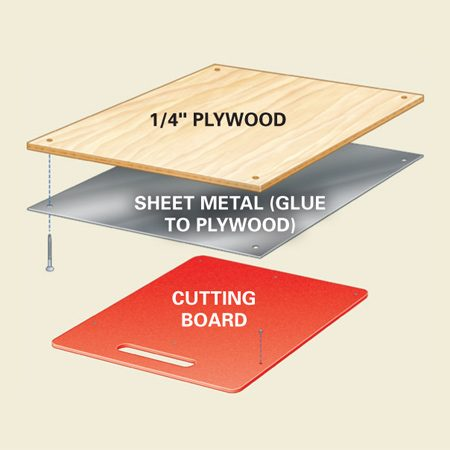 <b>Hidden cutting board exploded view</b></br> The metal plate grabs the magnets. Make sure you use galvanized steel, not aluminum.