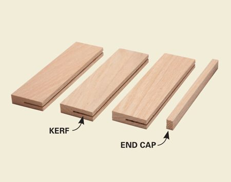 <b>Instant knife rack exploded view</b></br> Cut the kerfs, then glue the pieces together edge to edge.