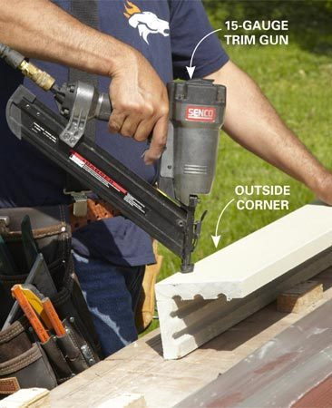 "<b>Use a finish nailer for trim</b></br> <p>It's a lot easier to preassemble  corners on a   flat surface. Jaime uses  2-1/4-in. galvanized   nails in his 15-gauge trim gun.  He uses the   same size nails to install the  corners on the   wall. Don't use a framing gun or  try to handnail   the corners together; that's a  good way   to break the trim boards. Also,  the trim nails   look better where nails will be  exposed,   especially on a prefinished  corner board.   So, if you don't have a 15-gauge  trim gun,   what a perfect ""opportunity"" to  go buy one ($115 and up at home centers).</p>"