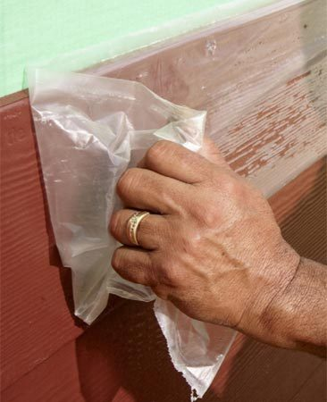 <b>Protect prefinished fiber cement board</b></br> Prefinished fiber cement boards come with a protective plastic coating. To protect the paint from getting scratched during installation, leave the plastic on and make your cuts right through it. Peel away the plastic after the board has been fastened to the wall.