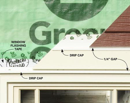 <b>Window and door detail</b></br> <p>Whether or not you're installing  trim boards around your windows, you'll need to install a   drip cap over the window. You'll  also need to leave a 1/4-in. gap (no caulking) between   the top of the window and the  plank or trim board directly above it. This is to allow any   water that may have gotten behind  the siding to weep out. Tape the drip cap to the wall,   but don't tape all the way to the  bottom of the drip cap because it will be visible through   the 1/4-in. gap. The top trim  board will also need its own drip cap and 1/4-in. gap. Treat the tops of doors the same way.</p>