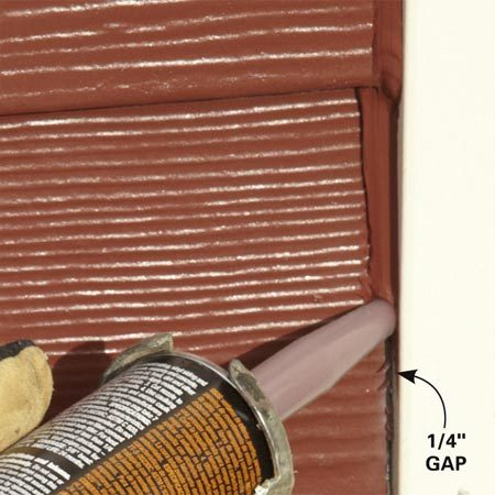 <b>End joint</b></br> Caulk edges that butt against corners and trim.