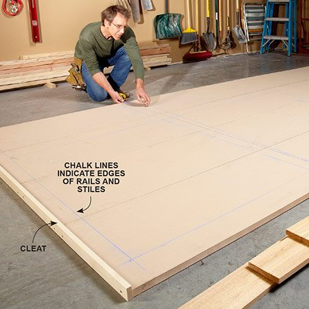 """<b>Photo 1: Mark out the layout</b></br> Lock the panels together with 1x3 cleats and drywall screws. Snap chalk lines to indicate the edges of the rails and stiles. The four """"openings"""" between the stiles should be of equal width."""