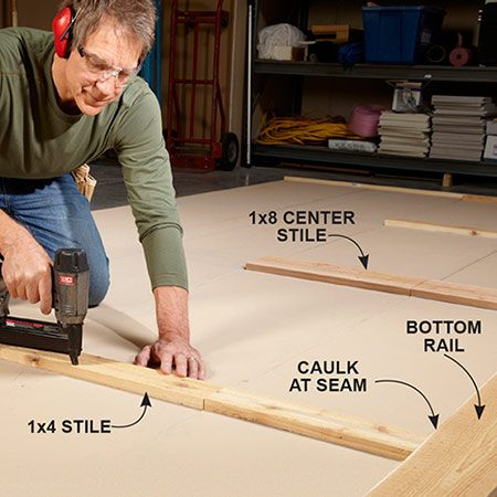 <b>Photo 3: Install the stiles</b></br> Apply silicone caulk to the ends of the stiles before butting them against the rails. Use nails sparingly; just enough to hold the parts in place until the construction adhesive cures.