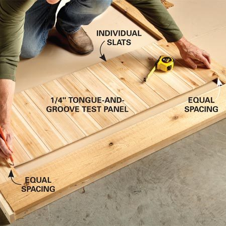 """<b>Photo 6: Lay out the slats for symmetry</b></br> Temporarily fit tongue-and-groove slats together, then center this """"test panel"""" in the opening. Mark the two end slats, then cut them to width for the installation."""