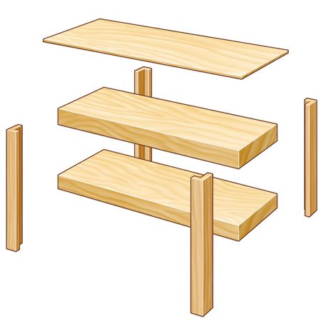 Simple workbench components: 4 legs, 2 boxes and a top