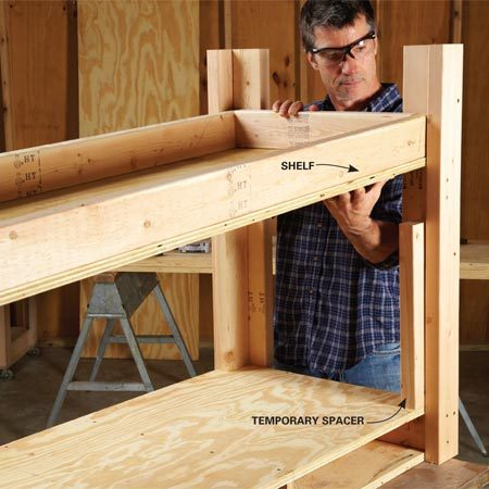 <b>Photo 5: Install the shelf</b></br> Set the shelf on spacers to hold it in perfect position. Then screw through the legs just as you did with the drawer compartment.