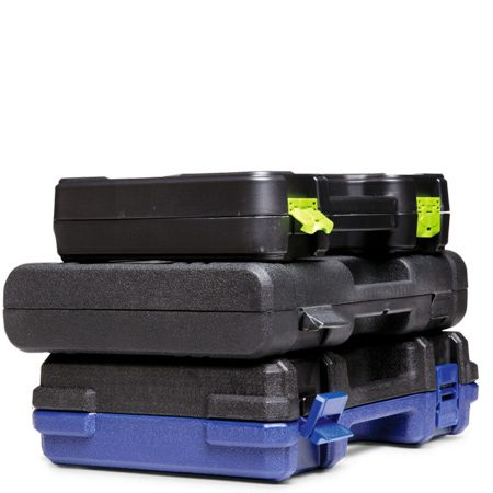 <b>Plastic cases</b></br> Cases with draw-bolt latches, snaps and hinges with pins hold up better with heavy use.