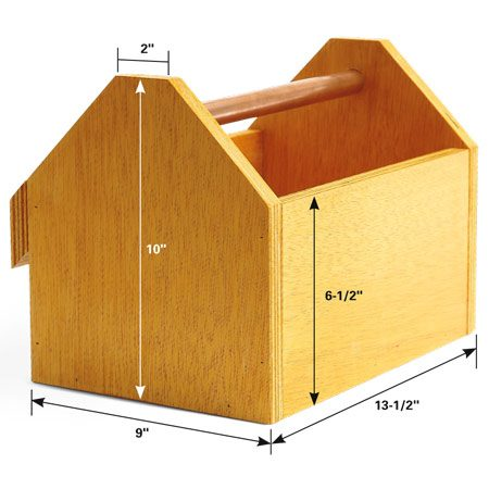 <b>Wooden totes</b></br> Build plywood boxes and attach cleats to the back. We drilled 7/8-in. holes, 1/2 in. deep in the ends with a Forstner bit to hold the 3/4-in. copper tubing handles.
