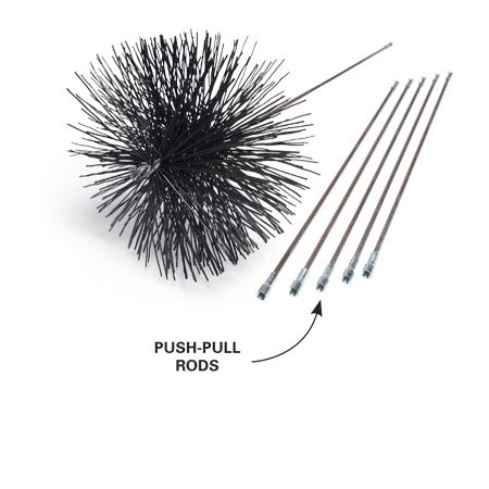 <b>Photo 1: Match the brush to the flue liner</b></br> Buy a metal bristle brush for a clay flue liner and a brush with plastic bristles for a metal liner. Buy enough rods to handle the entire height of your chimney.