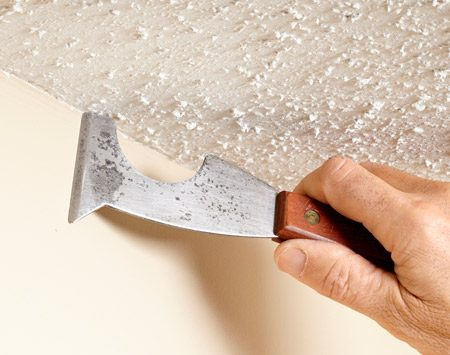 <b>Scrape, then paint</b></br> Scrape off a strip from textured ceilings where they meet walls. 1/8 in. to 1/4 in. is all you need to keep from getting your brush tangled up in the texture.