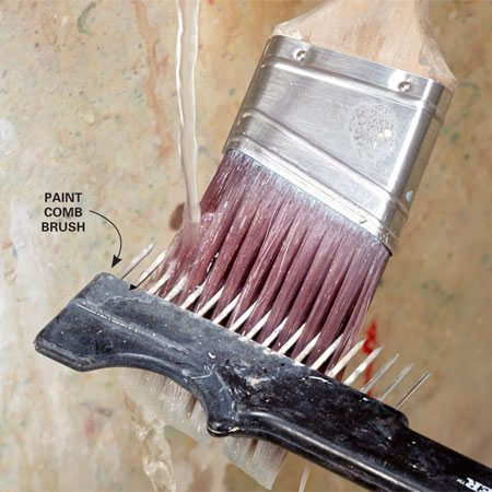 <b>Good grooming</b></br> Rake out dried paint, dirt and other debris from your brushes. If it's not stuck in your brush, it can't get stuck to your wall. Or ceiling. Or door trim.