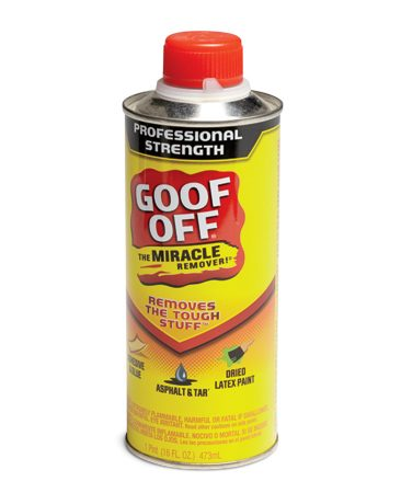 <b>Spray-on paint removers</b></br> Steve uses Goof Off, one of several brands of spray-on paint removers. 16-oz. cans are available at home centers. Steve won't leave home without one.