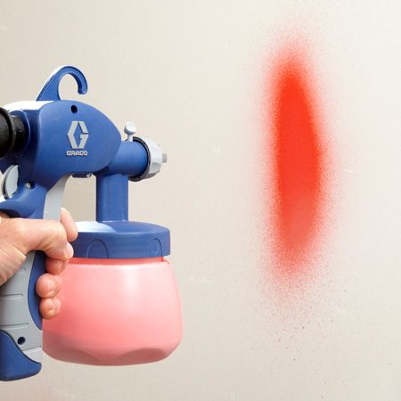 <b>A tight spray pattern</b></br> Our test revealed a large variation in spray patterns. The less expensive sprayers with smaller turbines and plastic spray tips produced a pattern that was spread out with foggy edges and large paint spatters. On the other end of the spectrum, the Graco sprayer produced very fine paint particles in a tight spray pattern with minimal spray beyond the edges, allowing you to get a super-smooth finish with good control.