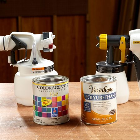 <b>The option to spray thick or thin</b></br> Wagner allows you to spray unthinned latex and thinner materials by providing two front ends in its PaintREADY System. all the other sprayers we tested spray thinned latex paint only, although the Rockler sprayer includes two needles and tips so you can optimize the spray pattern for thicker or thinner material.