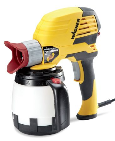 <b>Wagner Model 0525032</b></br> Wagner makes several versions of handheld airless sprayers. <a href='http://www.amazon.com/gp/product/B005CA3PP0/ref=as_li_qf_sp_asin_il_tl?ie=UTF8&camp=1789&creative=9325&creativeASIN=B005CA3PP0&linkCode=as2&tag=familhandy-20' target='_blank' rel='nofollow'>The Power Painter Max </a> shown here (available through our affiliate program with Amazon) includes a flexible paint pickup tube so you can spray at any angle, a two-speed pump, and an adapter and hose so you can spray from a paint can instead of the attached paint container.