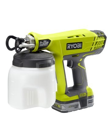 <b>Ryobi Model P650K</b></br> In addition to being powered by an 18-volt lithium ion battery, this <a href='http://www.amazon.com/gp/product/B0088JRH7E/ref=as_li_qf_sp_asin_il_tl?ie=UTF8&camp=1789&creative=9325&creativeASIN=B0088JRH7E&linkCode=as2&tag=familhandy-20' target='_blank' rel='nofollow'> Ryobi airless sprayer </a> (P650K) (available through our affiliate program with Amazon) includes a pro-style reversible spray tip that allows you to clear the clogged tip easily by simply twisting the tip 180 degrees.