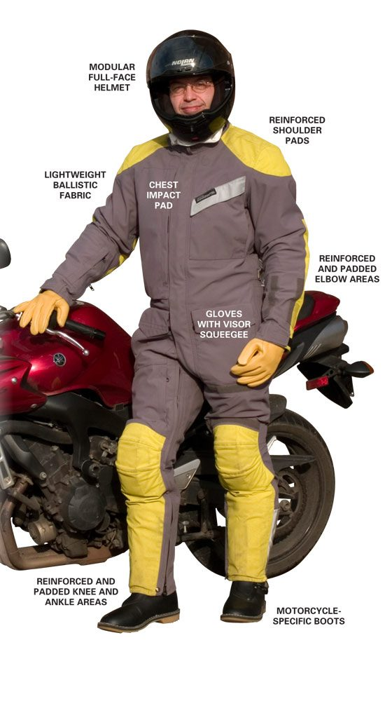 Motorcyclist wearing complete set of riding gear standing next to a sportbike.
