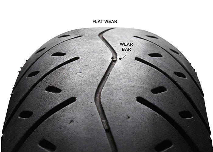 <p>More than 50 percent of all fatalities are single-<br/>vehicle crashes in which the bike leaves<br/> the roadway—hitting a post, guardrail, tree, etc.<br/> Your tires are the only things connecting<br/> you to the road. It's obvious: Don't ride on worn tires.</p>  <p>To avoid uneven tire wear—and maintain maximum<br/> contact with the road—keep your tires properly<br/> inflated.</p>