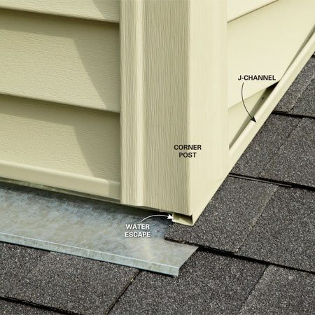 <b>Allow for drainage</b></br> Corner posts above the roofline are a notorious source of water infiltration. If a corner post is installed tight to the shingles and the J-channel dead-ends into it, any water that runs down the J-channel will back up at the post and may find its way into the house. Instead, hold the corner post up a bit and run the J-channel beneath it.