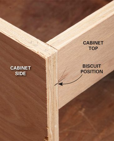 <b>Photo 4: Use L-joints at corners</b></br> On the corner of a cabinet, use an L-joint. Mark the biscuit positions as shown.