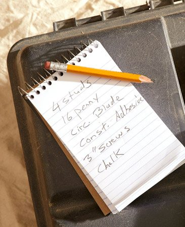 <b>Handy notebook</b><br/>Keep a notebook and pencil handy to list needed supplies and tools.