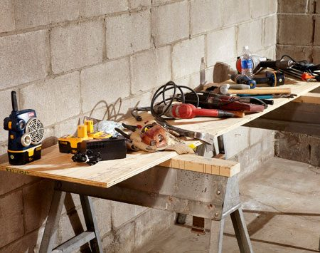 <b>All-purpose table</b><br/>Assemble a temporary table to keep tools and materials organized and close at hand.