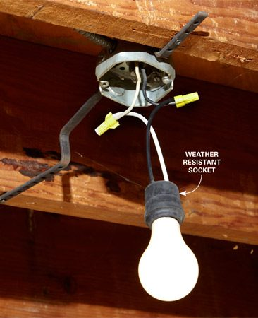 <b>Hard-wired socket</b><br/>If possible, connect temporary lighting to existing electrical boxes.