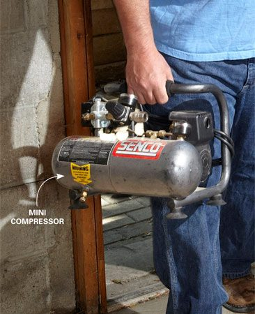 <b>Small compressor</b><br/>Small compressors are much cleaner, more convenient and less noisy for small projects.